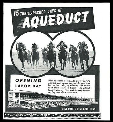 1952 Aqueduct racetrack horse race track racing photo vintage print ad