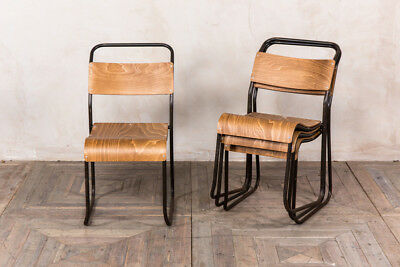 Industrial Vintage Stacking Chair Dark Frame Plywood Seat Stackable Seat