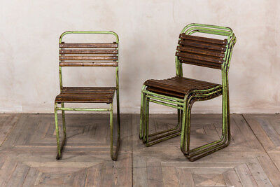 Industrial Vintage Stacking Chair Green Frame Slatted Seat Stackable Chair