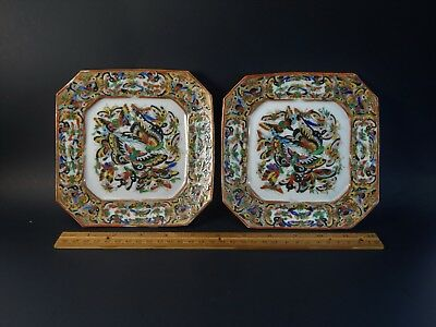 Pair Antique Chinese Export Thousand Black Butterfly Plates New England Market
