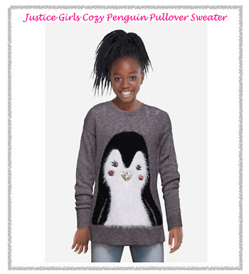*new* Justice Girls Size 8 Cozy Penguin Faux Fur Sequins Pullover Sweater