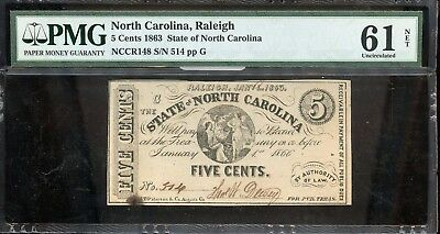 1863 PMG 61 UNC North Carolina 5C Fractional Currency Certified Note - JM752