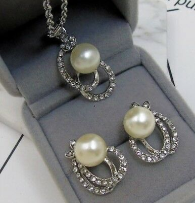 Silver Ton Faux Pearl Drop Bow Diamante Rhinestone Crystal Necklace Earrings Set