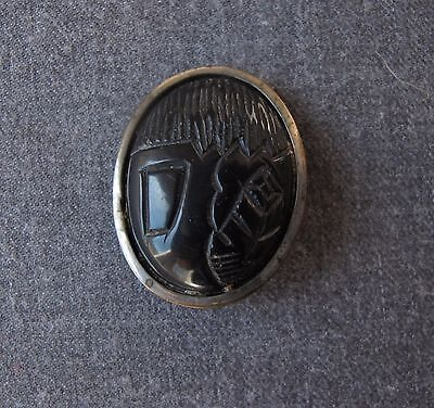 ANTIQUE 1920s MACHINE AGE ART DECO CARVED BLACK GALALITH & METAL HUGE BUTTON 1