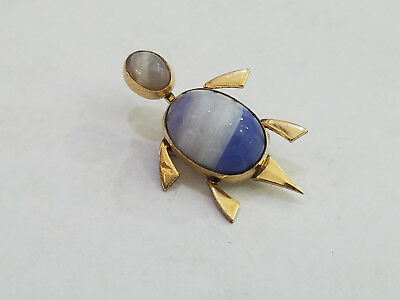 Vtg Onyx Turtle Pin Brooch Gold Filled 1950s Signed Admark - 7291