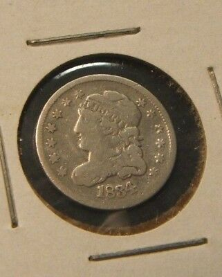 1834~~Capped Bust Half Dime~~Silver~~Key Date~Vg