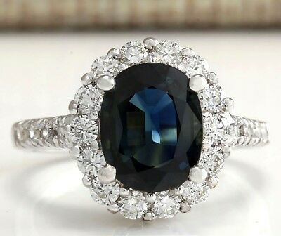 3.68Ctw Natural Blue Sapphire Diamond Ring 14K Solid White Gold