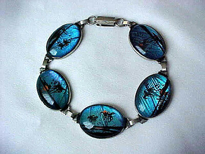 VTG. ART DECO BUTTERFLY WING LINK BRACELET w/ 5 HAND PAINTED TROPICAL SCENES