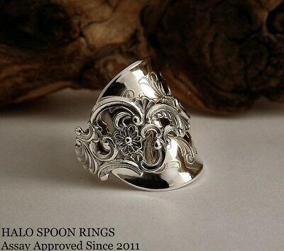 Stunning And Chunky Ladies Norwegian Fancy Pattern Sterling Silver Spoon Ring