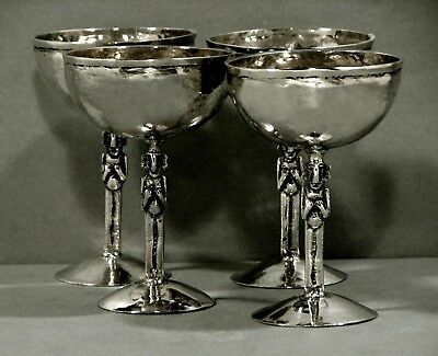 Peru Silver Goblets (4)    Hand Wrought     c1875        Signed