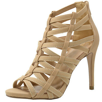 Delicious Women's Strappy Peep Toe High Heel Sandals Stiletto Heel Dress Shoes