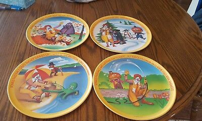 "Vtg 1977 Ronald Mcdonald 10"" Four Seasons Plastic Collector Plate Set Of 4 Nm"