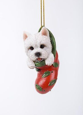 Westie West Highland Terrier Dog in Stocking Hanging Ornament Pet Pal Figurine