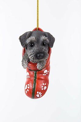 Schnauzer Dog in Stocking Hanging Ornament Pet Pal Collection Figurine Mini Pup