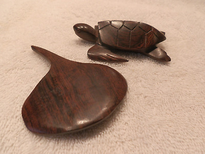 HECHO MEXICO CARVED DARK WOOD (IRONWOOD?) TURTLE w LABEL & MANTA RAY