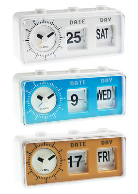 Retro Vintage Style Calendar Flip Alarm Clock - Day & Date Display - In 3 Colour