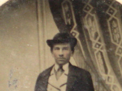 Antique Tintype-Stylish Standing Man-Bowler Hat-Double Breasted Vest-Overcoat