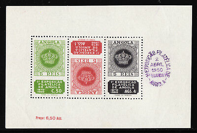 ANGOLA — SCOTT 330a — 1950 PHILATELIC EXHIBITION SHEET — MLH — SCV $37.50