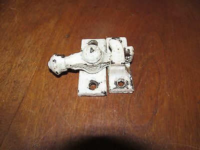 Antique Victorian Cast Metal Window Sash Lock & Keeper in old White Paint