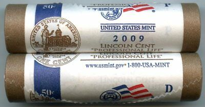 2009 Lincoln Cent Penny Rolls - Professional Life P & D Mint - Official - AM545