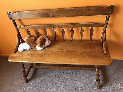 Antique ROCKPORT SOLID Maple Colonial Bench - BEAUTIFUL PATINA