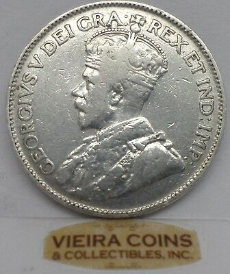 1919 Canada  Silver  Quarter, 25 cents  Free Shipping - #9844