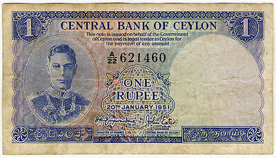 Ceylon 1951 Issue King George Vi 1 Rupee Banknote Vf.pick#47.