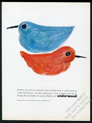 1962 Olivetti Underwood Lettera Studio typewriter bluebird red blue bird art ad