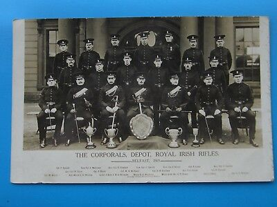 Royal Irish Rifles Corporals Depot 1913 Postcard.,  All 20 Named With Trophies.