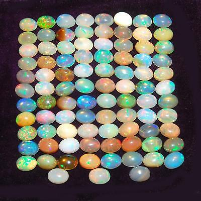 91 Pcs ~7mm/5mm Ethiopian~ Natural Opal IGLI Certified Lot AAA Strong Color Play
