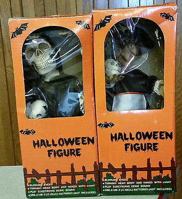Vintage Lot of 2 Halloween Figures Witch & Skeleton Animated Lighted Eerie Sound