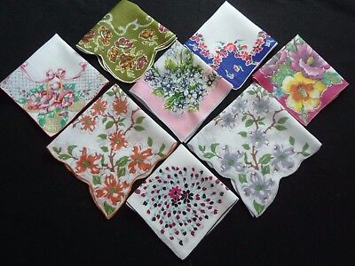 Fab LOT 8 VINTAGE Printed FLORAL Handkerchiefs Hankies Linen & Cotton