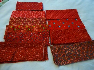 """Lot of 29  cotton quilting strips 4"""" wide-various red floral prints-some vintage"""