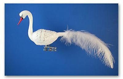 White Swan Clip On Christmas Ornament Blown Glass Germany Bird Feather 027006