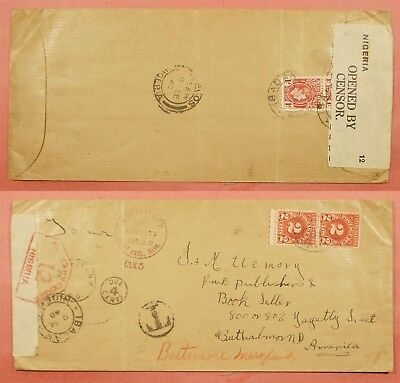 1940 Nigeria Ibidan Cancel Postage Due Wwii Censored Cover To Usa