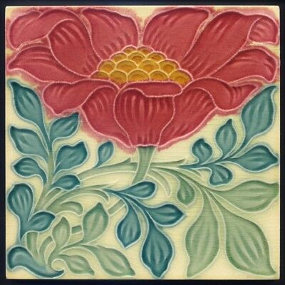 TH3077 Rare Pilkington Lewis F Day Arts & Crafts Floral Majolica Tile c.1898