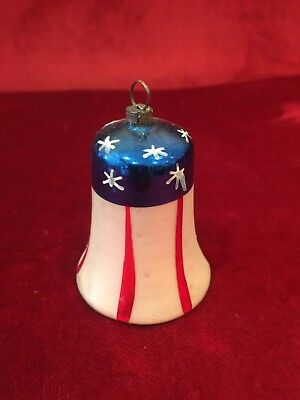Antique German Blown Glass Patriotic Stars & Stripes Bell Ornament
