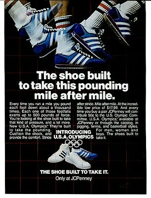1979 JCPenney USA Olympics 3 stripe shoes photo vintage print ad