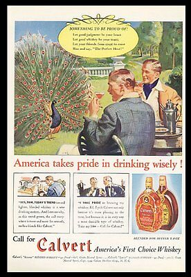 1939 Calvert Special whiskey peacock art vintage print ad