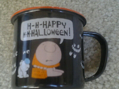 ZIGGY & his DOG FUZZ HAPPY HALLOWEEN VINTAGE BLACK METAL CUP with SCARY FACES