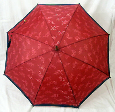 Opium Red Umbrella Nylon Parasol Bamboo Handle Vintage YSL Yves Saint Laurent