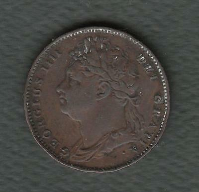 1821 Great Britain Farthing w/ George IIII- first issue- w/ Dot Variety