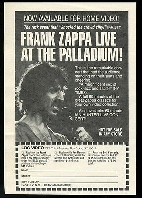 1982 Frank Zappa photo Palladium live show LBS Video vintage print ad
