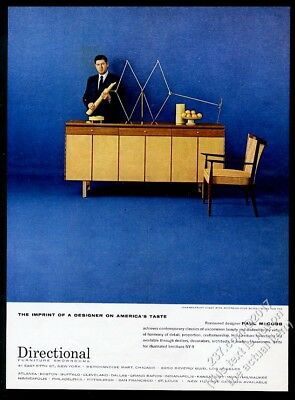 1957 Paul McCobb photo with modern chest and chair Directional vintage print ad