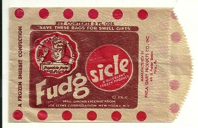 Fudgsicle Bag Philadelphia Dairy Products Pennsylvania 1950's New Old Stock