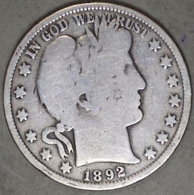 1892 Barber Half Dollar Silver Coin