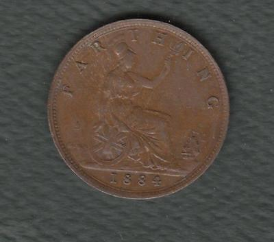 1884 Great Britain One Farthing- beautiful detailed coin