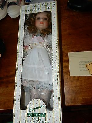 Seymour Mann Porcelain Doll App 44 cm NIB With Certificate And Stand