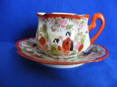 Egg Shell Thin Japanese Hand Painted Demitasse Cup & Saucer Geshia Mums