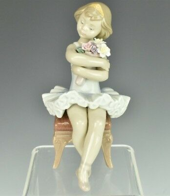 LLADRO Spain Young Ballerina Girl Bouquet Flowers Bench Porcelain Figurine LSW